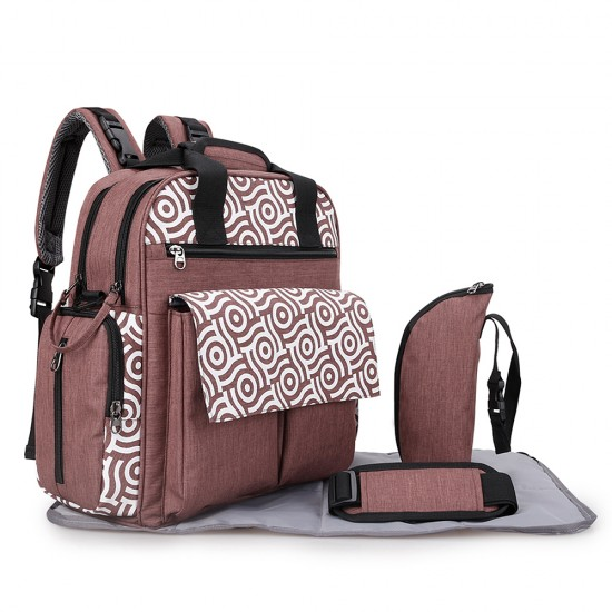 Alameda Convertible Diaper Bag Backpack with Nappy Mat and Bottle Holder - Brown
