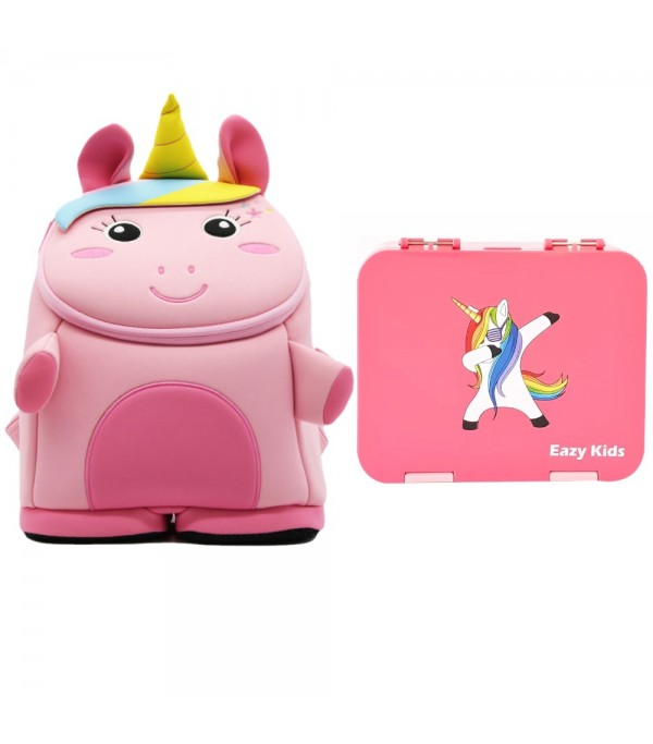 Nohoo Unicorn 3D Bag + Bento Lunch Box-Pink