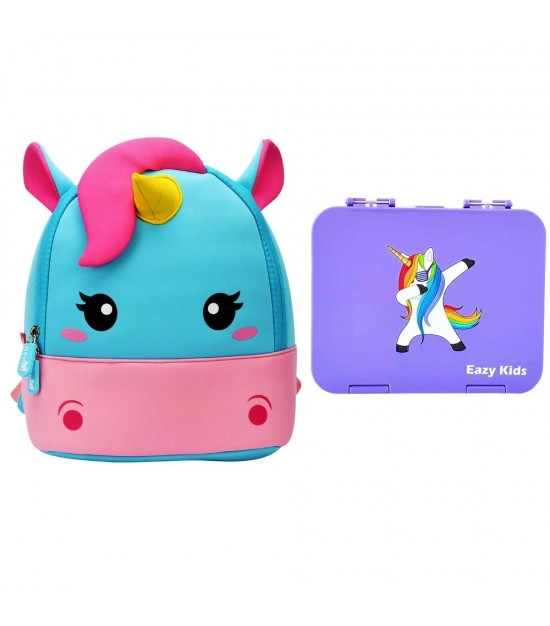 Nohoo Unicorn Bag + Bento Lunch Box-Purple