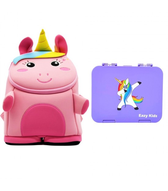 Nohoo Unicorn 3D  Bag + Bento Lunch Box-Purple