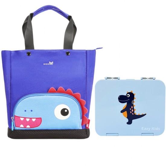 Nohoo Dinosaur Tote Bag and Bento Lunch Box-Grey Blue