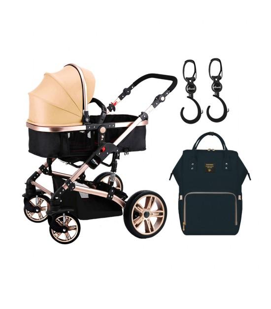 Teknum - 3 in 1 Pram Stroller, Diaper Bag & Hooks - Khaki Black