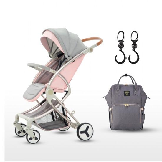 Teknum - A1 Pink With Sunveno - Grey Diaper Bag