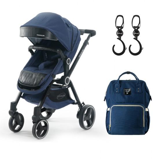 Teknum - 3-Position Premium V8 Stroller - Blue Green Combo