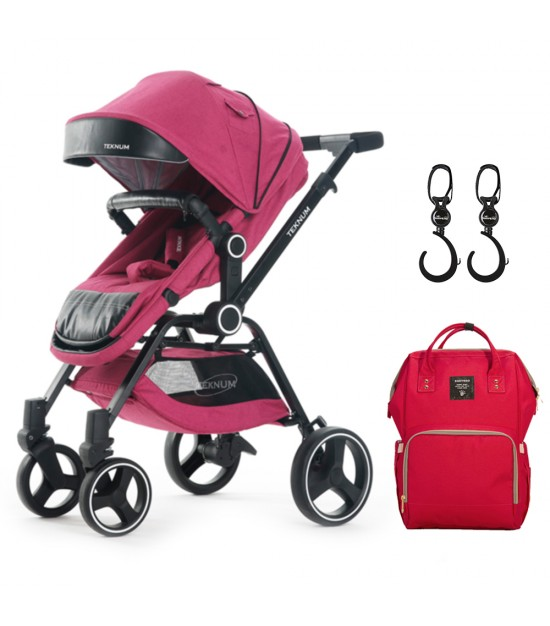 Teknum 3 Position stroller V8 - Red  + Sunveno Diaper Bag - Real Red + Sunveno Rotating Stroller Hooks