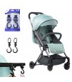 Travel Lite Stroller - SLD by Teknum - Peppermint Green + Sunveno 2in1 Diaper Bags - Pink + Hooks