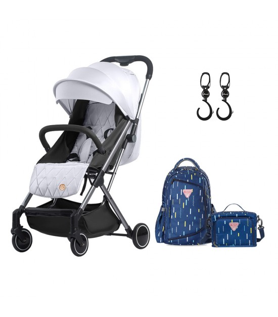 Travel Lite Stroller - SLD by Teknum - Silver + Sunveno 2in1 Diaper Bags - Navy Blue + Hooks