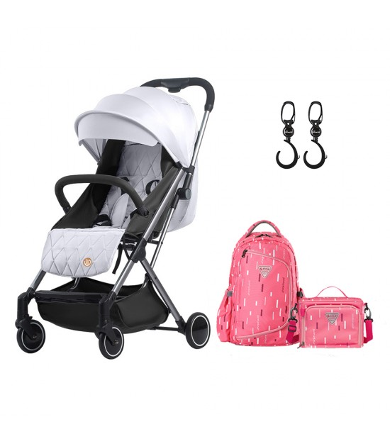 Travel Lite Stroller - SLD by Teknum - Silver + Sunveno 2in1 Diaper Bags - Pink + Hooks