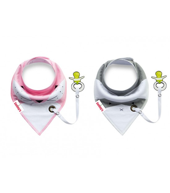 Eazy kids Bandana Drool Bibs Set of 2 – Pink Grey