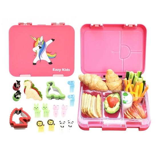 Eazy Kids 6 & 4 Convertible Bento Lunch Box - Unicorn Pink
