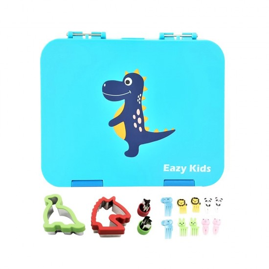 Eazy Kids 4 Compartment Bento Lunch Box - Dino Blue