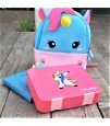 Eazy Kids 4 Compartment Bento Lunch Box - Unicorn Pink