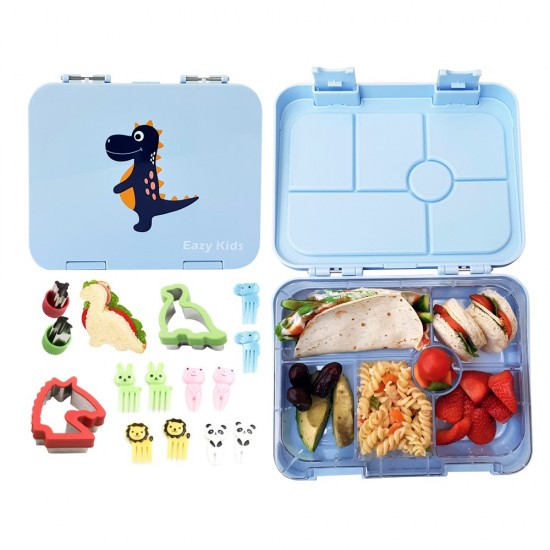 Eazy Kids 6 Compartment Bento Lunch Box - Dino Grey Blue