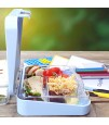 Eazy Kids 6 Compartment Bento Lunch Box - Dino Grey Blue