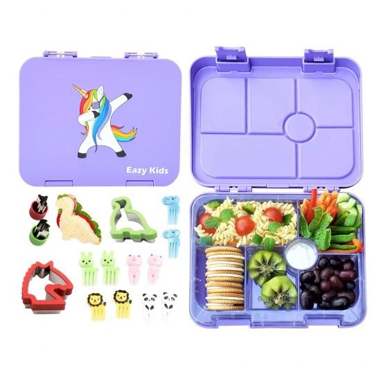 Eazy Kids 6 Compartment Bento Lunch Box - Unicorn Purple