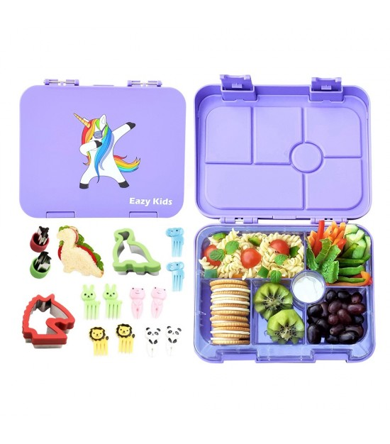 Eazy Kids 6 Compartment Bento Lunch Box - Unicorn Purple