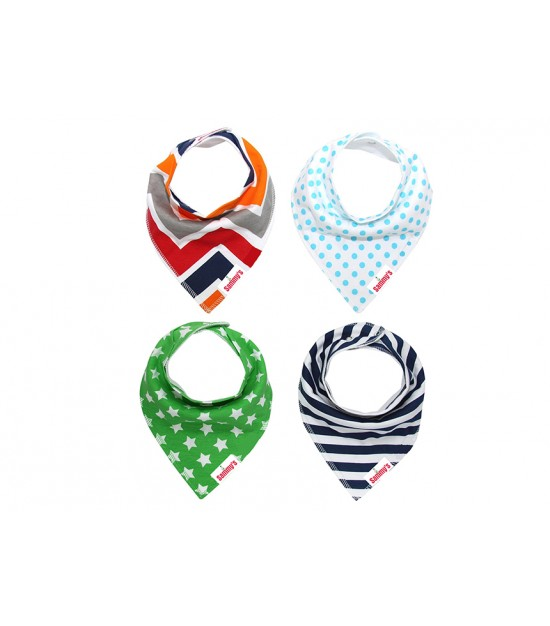 Eazy kids Bandana Bibs Set of 4 - Stars Ships