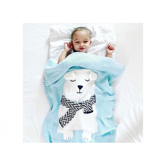 3-D Designer Knitted Blanket - Blue White – Bear Dear
