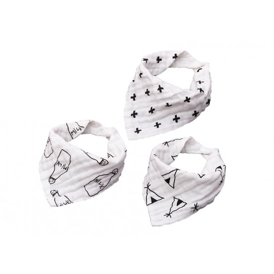 Eazy Kids - Muslin Bandana Bibs - Set of 3- Black & White
