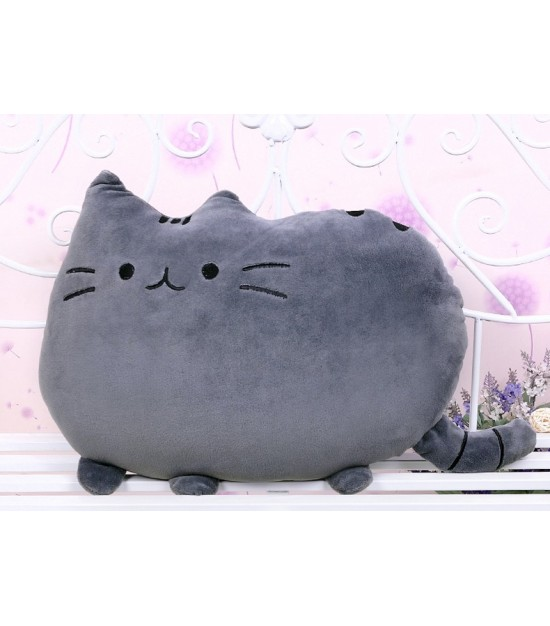 Plushy Cat Pillow - Grey