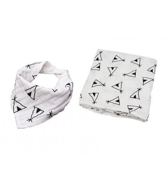 Muslin Swaddle and Bib Set-XL Size–Teepee