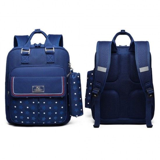 Sambox - Star Kids School Bag with Pencil Case - Star Navy