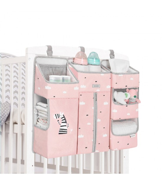 Sunveno Baby Bedside Portable Crib Organizer - Pink
