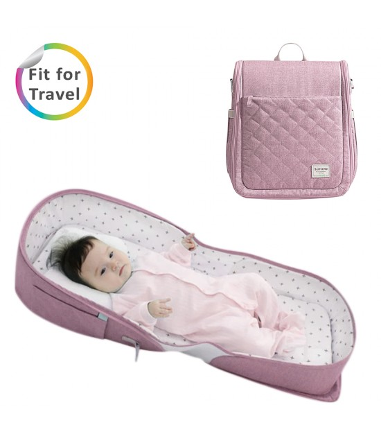 Sunveno Portable Baby Bed & bag- Pink