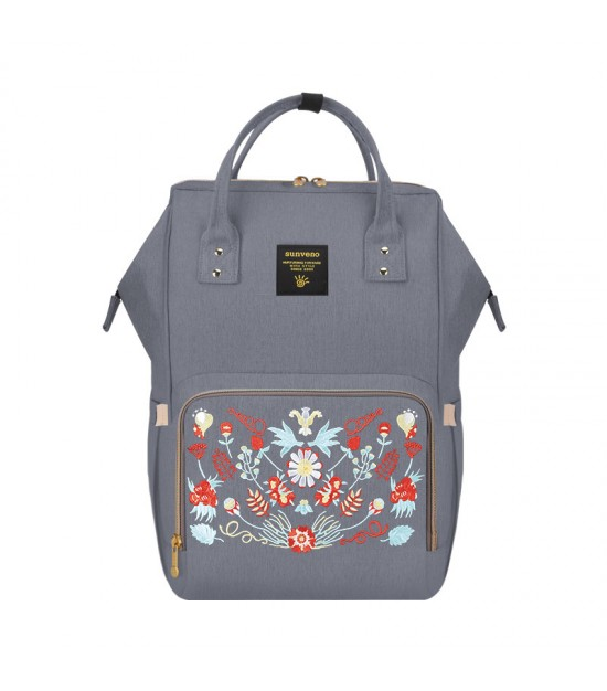 Sunveno Diaper Bag-Grey Embroidary