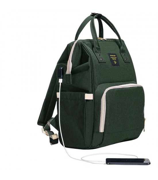 Sunveno Diaper Bag with USB - Olive Green
