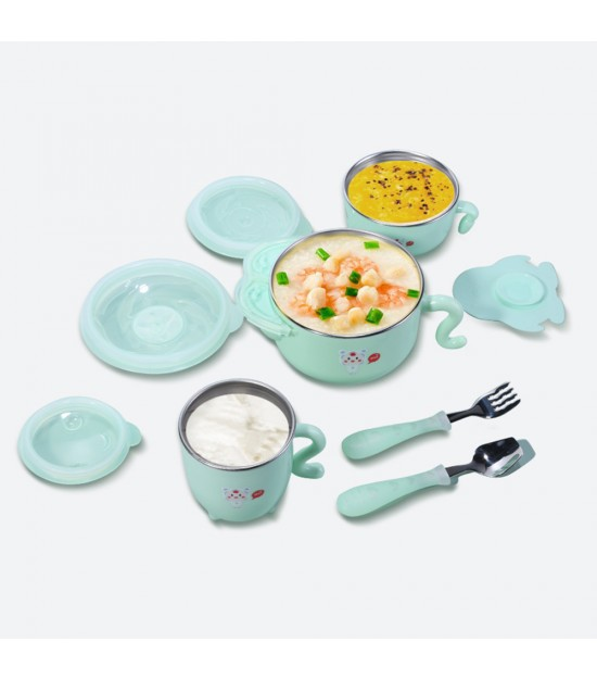 SUNVENO Insulated Stainless Steel Feeding Set - Green