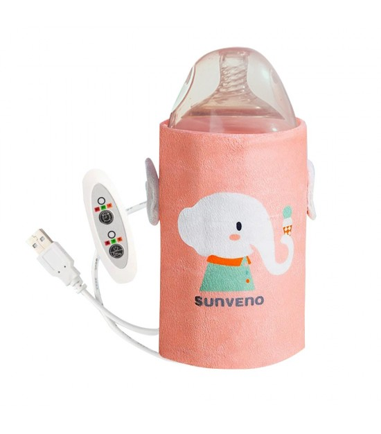 Sunveno Portable Milk Bottle Warmer with USB - Pink