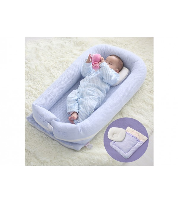 c10a00b5d257 Sunveno - Baby Co-Sleeping Bed - Organic Blue