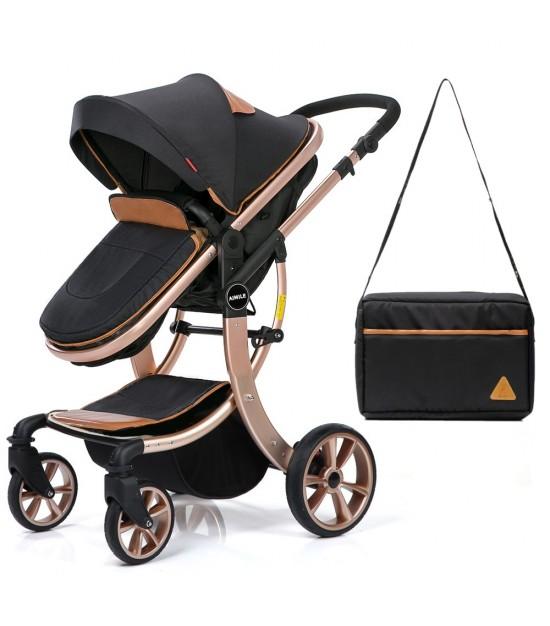 Teknum - 3in1 Luxury Pram Stroller - Story - Black