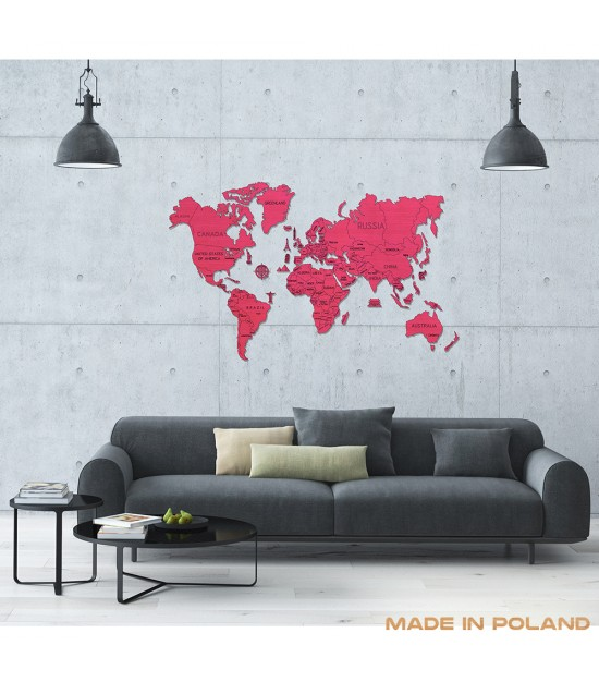 Wooden WORLD MAP XL - Coral