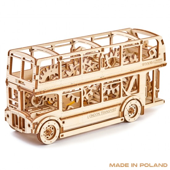 Wooden City - London Bus 3D Mechanical Model - Brown