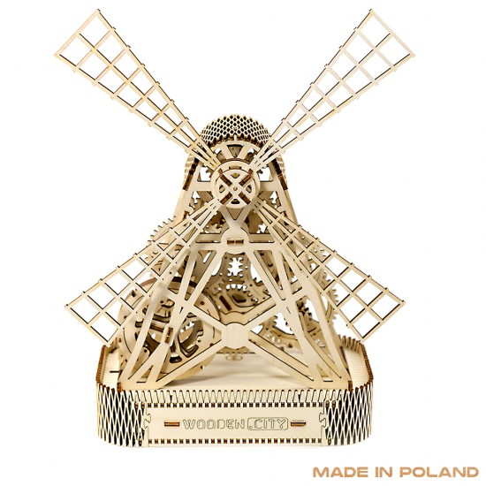 Wooden City - Windmill 3D Sculpture - Brown