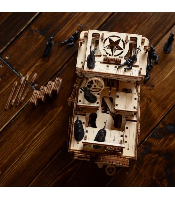 Wooden City - Jeep 3D Mechanical Model 4x4 - Brown