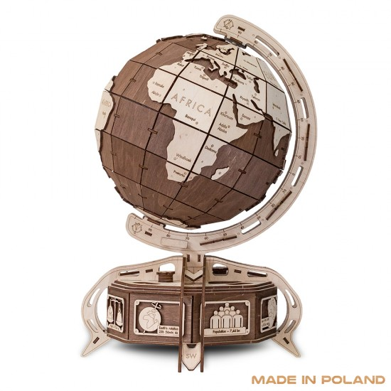 Wooden City - Wooden Globe - Brown